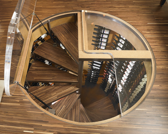 Awesome Wine Cellar Spiral Staircase: Modern Ocean Front Wine Cellar On The Spiral Staircase Are Made Of The Same Green Wood Floors Leading Into Cellar From Trap Door Above