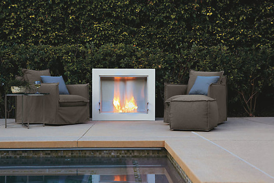 Modern Home Design With Ventless Fireplace : Modern Patio Aspect Fireplace And Brisbane Chairs By RB Ventless Fireplace Uses Bioethanol