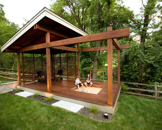 Wonderful Backyard Landscaping Ideas For Kids : Modern Porch Backyard Landscaping Ideas With The Unique Roof And Ditch The Litter Box Though The Kids Have A Sand Box That Is Much Safer