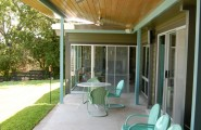 Inexpensive Or Cheap Retro Furniture Pictures : Modern Porch With The Retro Metal Lawn Chairs And Patio Furniture