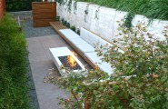 Terrific Propane Fire Pits Table For Decks And Patio : Modern Poured Concrete Patio With Propane Fire Pits For Decks