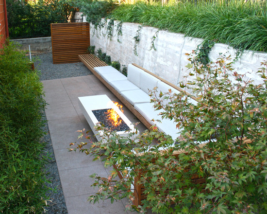 Terrific Propane Fire Pits Table For Decks And Patio: Modern Poured Concrete Patio With Propane Fire Pits For Decks