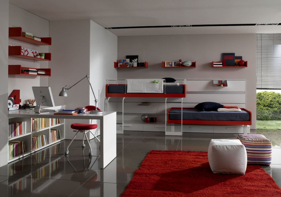 Decorating Ideas: Cool Room For Teenagers: Modern Red Color Twin Bedding Teenagers Room Designs Whit White Table Integrated With Bookshelves With Red Wallshelf And Pouf On Red Rug On Porcelain Tile Flooring
