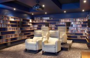 Various Cool Dvd Storage Ideas : Modern Small Media Room Space With Dvd Movie Shelves Around The Room
