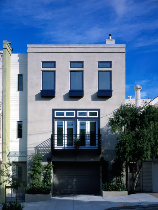 Home Curbside Landscaping Ideas : Modern Stucco A La San Francisco Exterior Facade With Modern Victorian Curbside