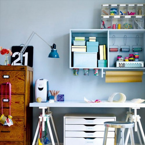 Charming And Thoughtful Home Office Storage Ideas : Modern Thoughtful Home Office Storage Solution Ideas With Colorful Stationary With Hanging Storage And Wooden Filing Cabinet And Desk Decoration With Reading Lamp
