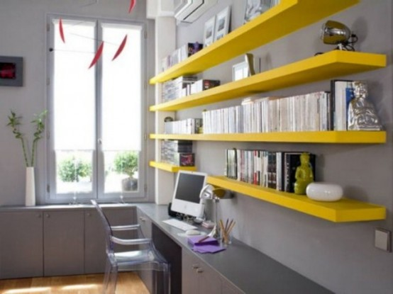 Charming And Thoughtful Home Office Storage Ideas: Modern Thoughtful Home Office Storage Solution Ideas With Mounted Yeoow Bookshelves And Long Custom Study Desk With Long Horizontal Window And Vases