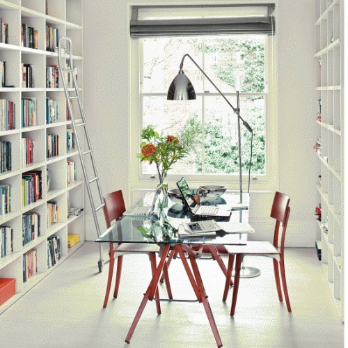 Charming And Thoughtful Home Office Storage Ideas: Modern Thoughtful Home Office Storage Solution Ideas With Office Space With Stylish Furnishings In White With Full Big Mounted Wall Cabinet And Bay Window With Table And Chair ~ stevenwardhair.com Bookshelves Inspiration
