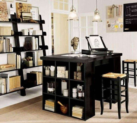 Marvellous Smart Space For Home Office Design : Modern Thoughtful Home Office Storage Solution Ideas With The Very Best In Interior Design And Home Improvement With Nice Desk And Beautiful Pendant