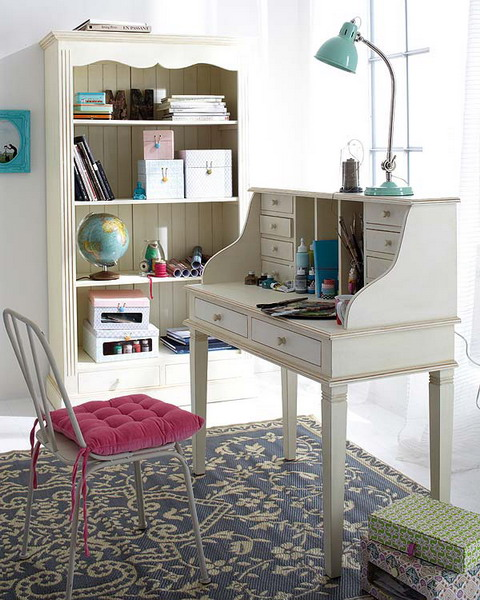 Charming And Thoughtful Home Office Storage Ideas: Modern Thoughtful Home Office Storage Solution Ideas With Vintage Study Desk With Old Model Chair And Simple Rustic Bookshelves And Working Accessories Storage And Fur Rug ~ stevenwardhair.com Bookshelves Inspiration