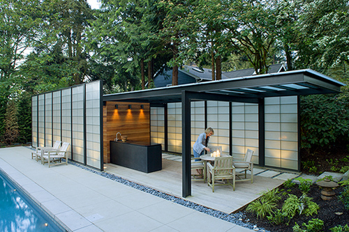 Romantic Japanese Style Pool House With Breathtaking Ideas : Modern Translucent Pool House Decor With Japanese Style Pool House Black Granite Sink Island Simple Modern Partition Astonishing Glass Ceiling Furniture