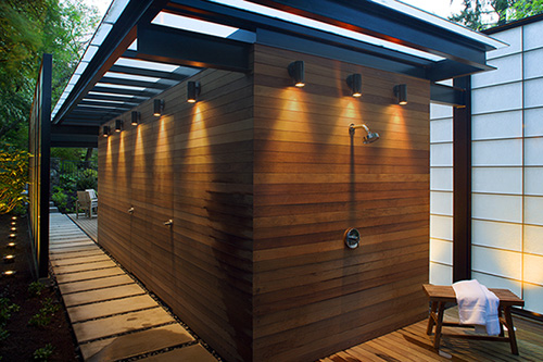 Romantic Japanese Style Pool House With Breathtaking Ideas : Modern Translucent Pool House Designshower Space Japanese Partition Wooden Finishing Pergola Great Small Wall Light Glass Ceiling Wooden Floor Design