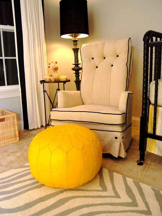 Interesting Unisex Baby Room Themes: Modern Vintage Nursery Unisex Foundation With Eye Catching Yellow Moroccan Pouf ~ stevenwardhair.com Design & Decorating Inspiration