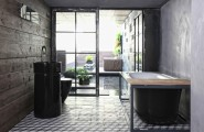 Extravagant Sleek Interior Design For A Loft : Modern Washbasin Faucet White Oval Bathtub Artistic Bath With Outstanding Concentrate Floor Design And Outdoor Furniture