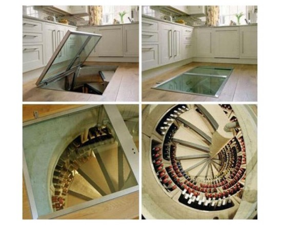 Awesome Wine Cellar Spiral Staircase : Modern Wine Spirall Cellar Spiral Staircase From The Kitchen That Holds All The Wine Storage Under Kitchen