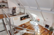 Beautiful Modern Mezzanines Design To Increase Square Footage Inspiring Ideas Part-2 : Modern Wood And White Mezzanine Design With Stainless Steel Pipe Railing Is A Perfect Solution For Creating More Space Under The Sloping Ceiling