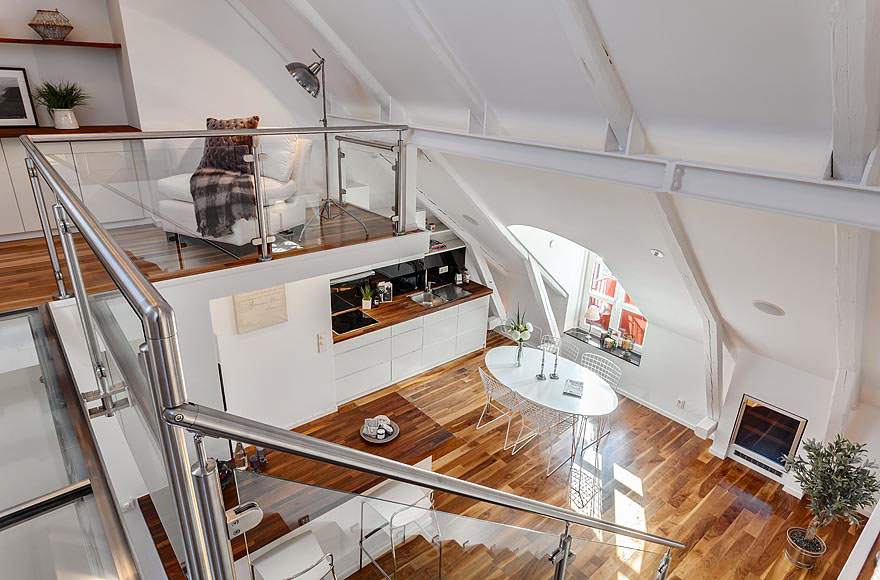Beautiful Modern Mezzanines Design To Increase Square Footage Inspiring Ideas Part-2: Modern Wood And White Mezzanine Design With Stainless Steel Pipe Railing Is A Perfect Solution For Creating More Space Under The Sloping Ceiling