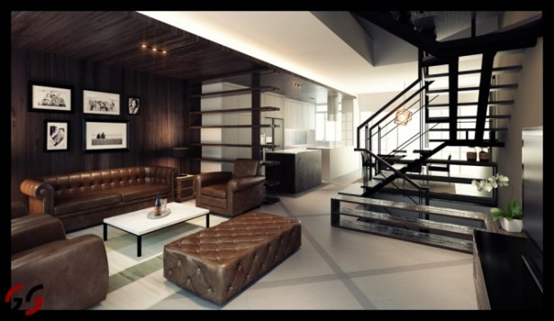 Smart Approach To Modernize Design Process For Our Living Room: Modernization Process For Our Living Room With Vintage Brown Leather Sofas White Table Great Exposed Railing Starcase And Inspiring Wooden Ceiling ~ stevenwardhair.com Design & Decorating Inspiration
