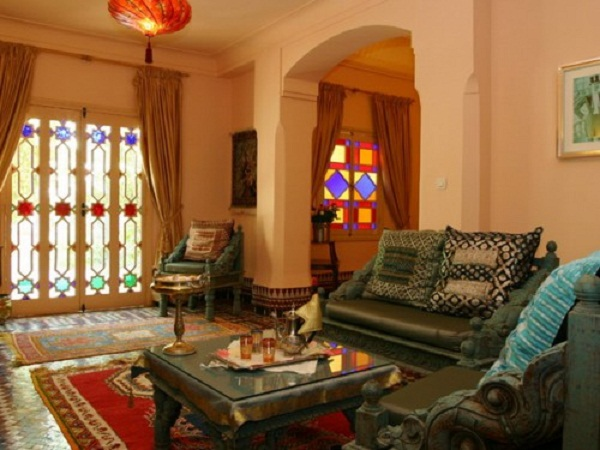 Remarkable Morrocan Style For Your Romantic House : Moroccan Decor Ideas Cream Wall Dark Green Typical Armchairs Motives Cushions Typical Ruds Colorful Windows Square Small Table