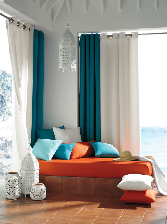 Amazing Moroccan Lanterns and Lamps : Moroccan Lanterns At Living Room With Orange Pouffe
