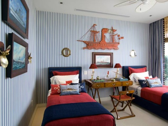 Teenage Cozy Modern Compact Bedroom: Nautical Inspired Boys Bedroom Extraodinary Cozy Car Themed Shared Boys Beds With A Small Desk On Top And Warm Blanket And Ichair Using Striping Blue Wallaper With Picture Hanging ~ stevenwardhair.com Bedroom Design Inspiration