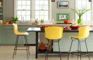 Apply Wok Le Creuset For Your Wonderful Kitchen : New England Cottage Contemporary Kitchen With Le Creuset Flame Signature Braiser Yellow Chairs Bar Stools
