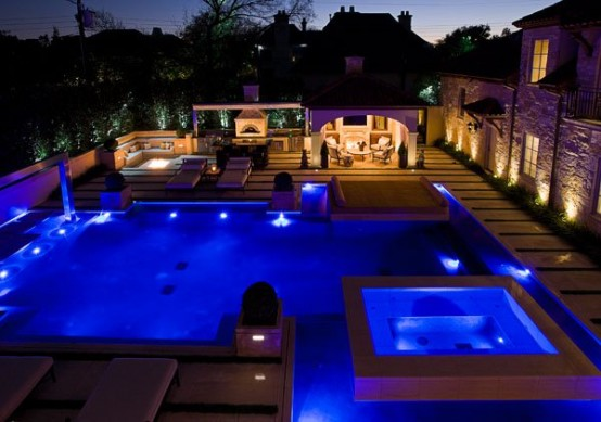 My Favorite Luxurious Swimming Pool Design: Nice Amazing Poolside Area Design With Blue Lamp Lighting Sofa Lamp Table And Hardwood Flooring ~ stevenwardhair.com Pool & Backyard Inspiration