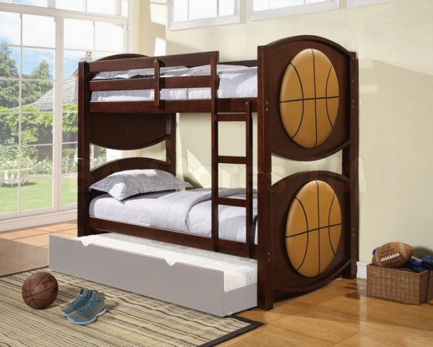 Charming Interesting Bunk Bed Designs For Kids Bedroom: Nice Astonishing Bedroom Design Black White Basket Ball Theme Unique Bunk Beds White Cozy Bed And Wooden Style Foor Design ~ stevenwardhair.com Bed Ideas Inspiration