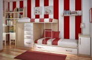 Charming Interesting Bunk Bed Designs For Kids Bedroom : Nice Astonishing Bedroom DesignWhite Red Strips Color Unique Bunk Beds Wooden Style Intage Closet Laminate Flooring Design