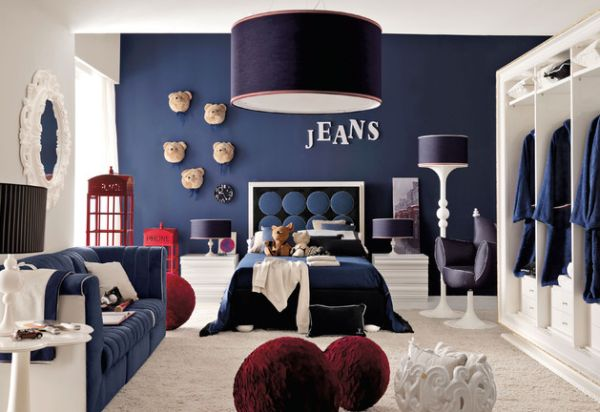 Astonishing Blue Decoration Color For Boys Bedroom Design Ideas: Nice Astonishing Cotemporary Astonishing Decoration Blue Color For Boys Bedroom Design And Bold Spacious Bed In Navy Blue Great Floor Design