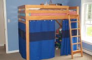 Minimalist Sweet Combination Kids Loft Bed : Nice Blue Hue Blue Loft Bed Wall Wooden Frame Grey Rug And Great Grame Windows