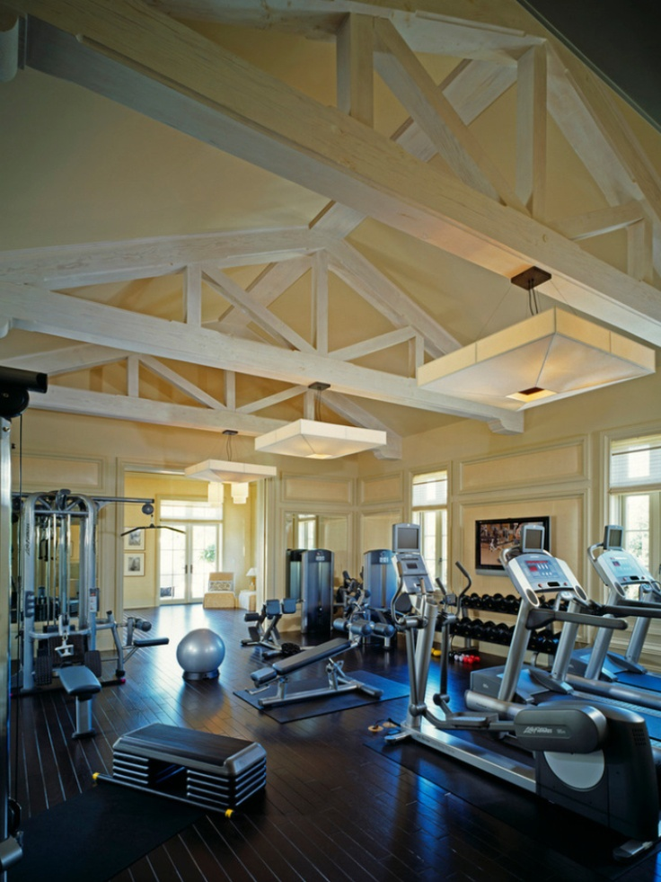 Atonishing In House Gym Space Design For Urban Living: Nice Ceiling Home Gym Designs With Portable Fitness Equipment Training Equipments Elliptical Treadmill And Laminated Floor Design