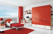 Amazing Trendy Bold Color Comfy Kids Room : Nice Cool And Bright Simple Red White Color Coordinated Modern Kids Room Design With Large Red Closet And Red Painted Beam As Accent