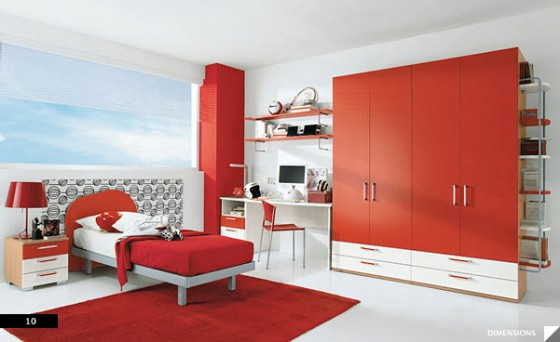 Amazing Trendy Bold Color Comfy Kids Room: Nice Cool And Bright Simple Red White Color Coordinated Modern Kids Room Design With Large Red Closet And Red Painted Beam As Accent