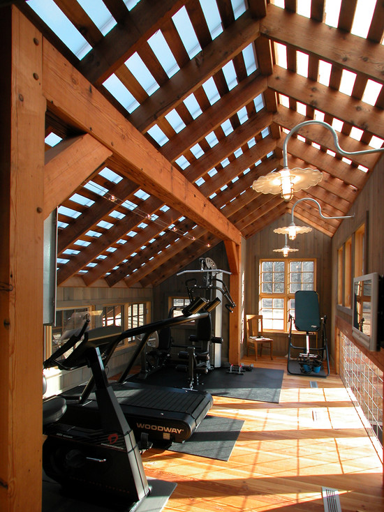 Inspiring Strategically Placed Gym In A Stylist Living Room: Nice Decoration For Your Home Gym Design Ideas Instantly Modern Touch Or A Charming Room Decoration Inspiring Rooftop Wood Material Usage