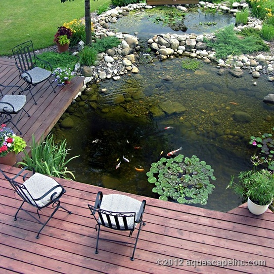 Motivational Pictures To Inspire You To Design Your Home Deck : Nice Outdoor Deck Design Ideas With Stylist Rattan Chair And Puff With Bold Cool Near The Cool Pond Plank Floor Design Outdoor Furnitures