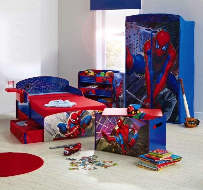Innovative Boys Room Decoration with Unique Ideas : Nice Superhero Boys Room Designs Ideas Spiderman Theme Bed Design Storage Underneath Custom Paint Wardrobe