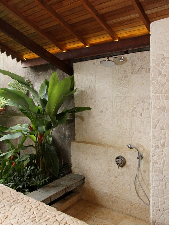 Unique Tropical Bathrooms Decorating Plans And Wall Decor : Nice Unique Tropical Bathrooms Decorating Plans And Wall Decor With Unique Natural Ceramic Bright Airy Green Plant Brick Wall And Wood Exposed Ceiling