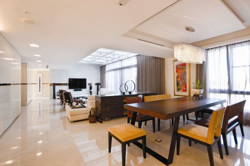 Sleek Modern Living Room White Minimal Apartment: Nice Wooden Dining Table Modern Living Room With Elegant Marble Floor Design And Pendant Lamp Dining Chairs Hidden Lamps White Sofa