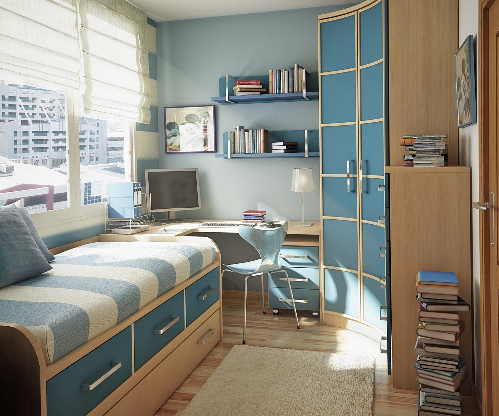 Room color ideas for teenage girls: Ocean Blue Stripe Daybed Small Space Corner Cabinet Office Sunny Relaxing Teen Room With Wooden Floor And Large Window