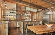 Surprising Salvaged Cabinet : Old Reclaimed Wood Of The At Salvage Cabinets Corrugated Back Splash Barn Lights At Contemporary Kitchen With Backslpash Tin
