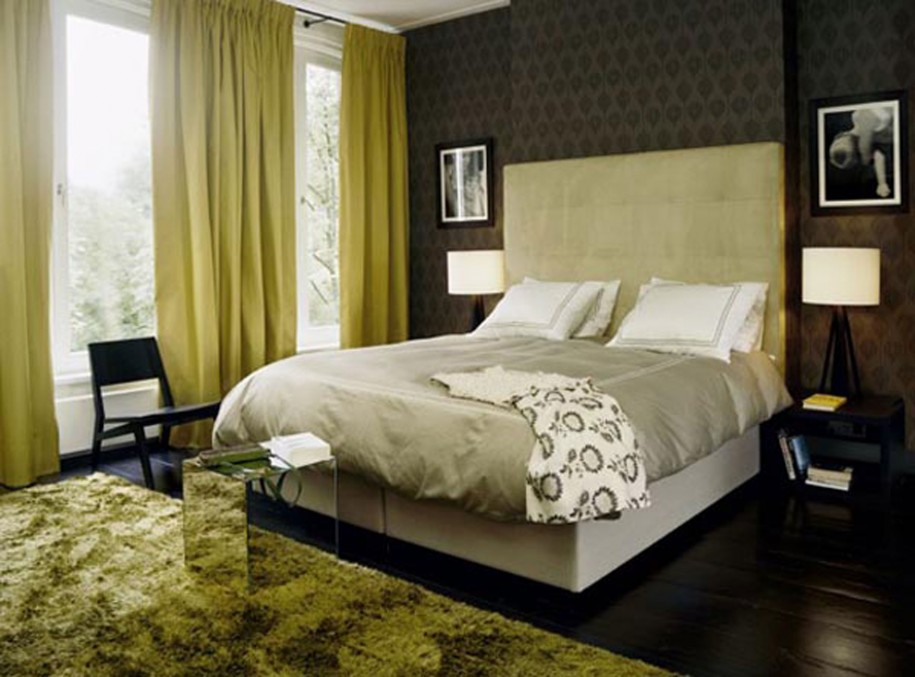Minimalist Apartment Interior Designs in Modern Way : Olive Curtain Grey Bed Cover White Cushions Black Motives Wallpaper