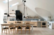 How to Build Your Dream Kitchen Storage Using Open Kitchen Shelves : Open Kitchen Dining Table 8 Dining Chairs 2 Black Pendant Lamps White Sloping Ceiling