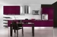 Purple Kitchen Idea to Display Elegance in Your Kitchen : Open Kitchen Purple Kitchen Cabinet Rangehood Washbasin Faucet Dining Table