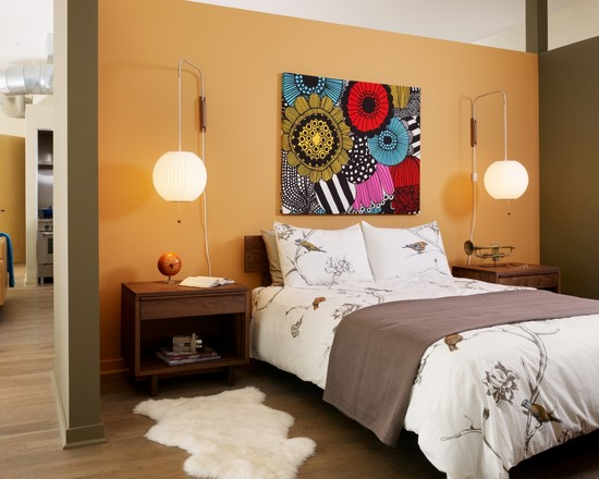 Inexpensive Or Cheap Retro Furniture Pictures: Orange Retro Fabric To Make Wall Pannel And Cheap Wall Art At Modern Bedroom