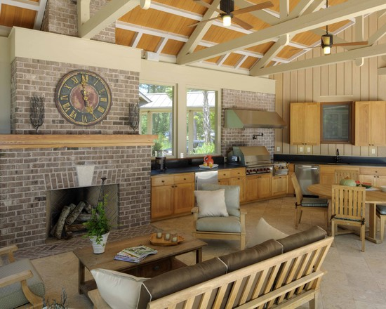 Terrific Outdoor Grill Exhaust And Ventilation: Outdoor Fire And Kitchen BBQ Area At Rustic Porch