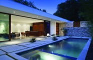 Extraordinary Chic Home Office with Classic Style Design : Outdoor Pool Hidden Lamps Sofa Natural Stone Outdoor Wall Outdoor Footpath