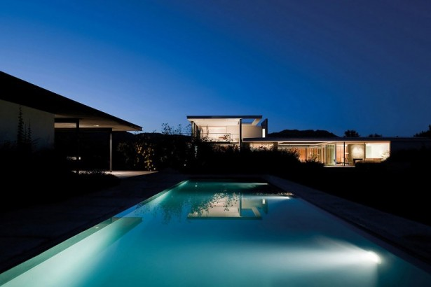 Remarkable House Design with Stylish Touch: Outdoor Pool Outdoor Footpath 2 Floors House Glasses Outdoor Deck Railing Trees ~ stevenwardhair.com Unique Home Design Inspiration
