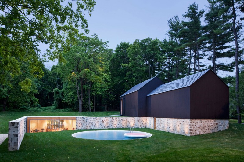 Inspiring Country Estate Home Design Surrounded by Nature: Outdoor Pool Untreated Outdoor Wall Glasses Window Grasses Yard Wooden Outdoor Wall