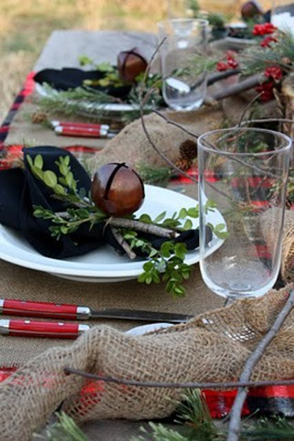 Festive Christmas Decorations For An Adult: Outdoor Rustic Christmas Table Setting Rough Sac As Table Cloth Huge White Candles On Tree Stumps And Berries Decoration As Center Piece1 ~ stevenwardhair.com Chairs Inspiration